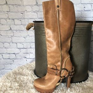 Stunning Tall Leather Tan Boots